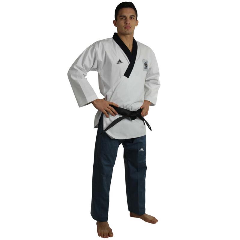 Adidas Adidas Poomsae Taekwondopak Heren Wit/Donker Blauw 180 cm