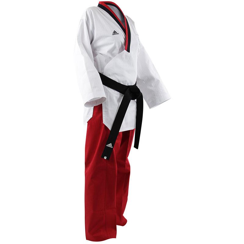 Adidas Adidas Poomsae Taekwondopak Girls Wit/Rood 140cm