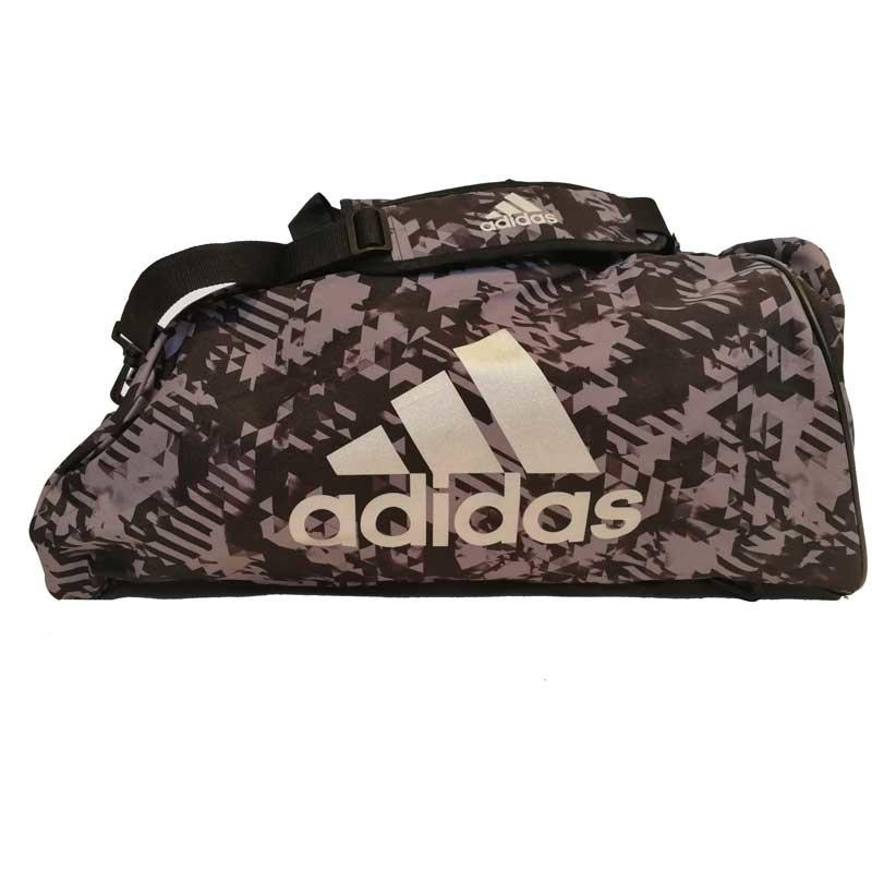 Adidas adidas Combat Sporttas Polyester 2 in 1 Zwart Camo/Zilver Small