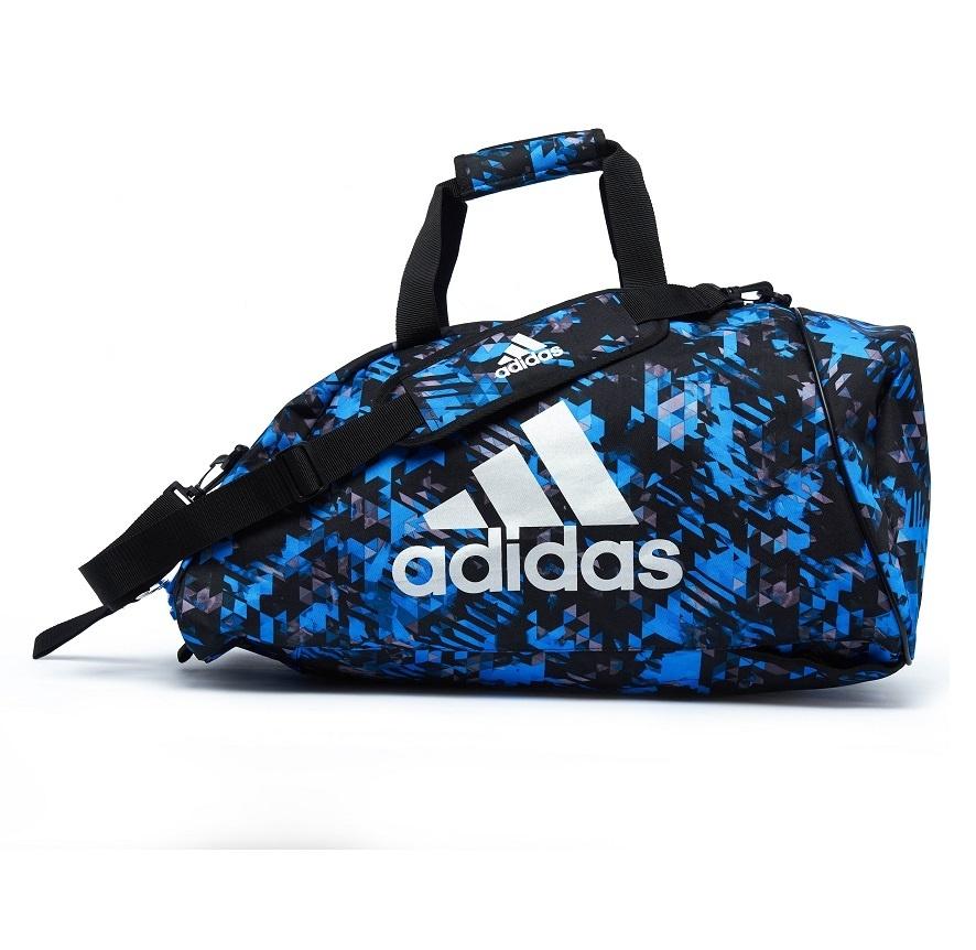 Adidas adidas Combat Sporttas Polyester 2 in 1 Blauw Camo/Zilver Medium