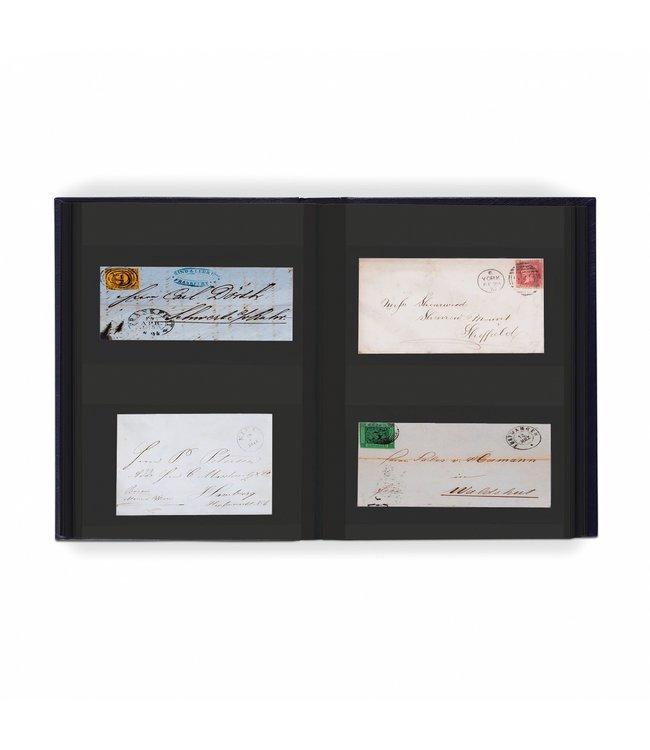 Einsteckalbum Für  128 Briefe / Postkarten / 64 Schwarze Seiten