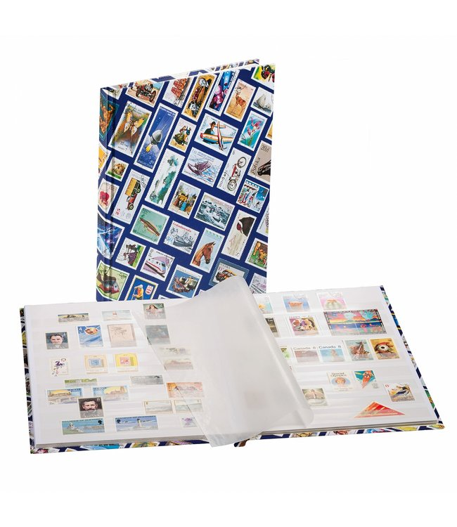 Stockbook (Din A4) With Stamps Motif  / 16 White pages / Blue