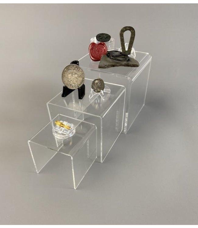 Clear Acrylic Square Riser / 3 Piece Set /S