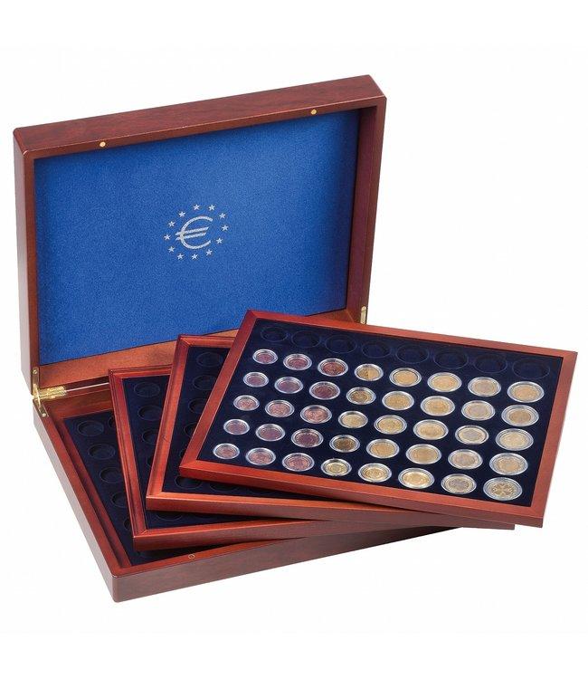 Münzkassette Volterra Quattrode  Für 24 Euro-Kursmünzensätze In Kapseln