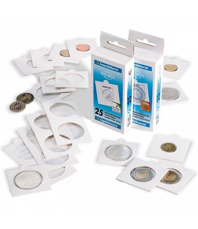 Matrix Coin Holder / White / Self-Adhesive / 25 Pieces