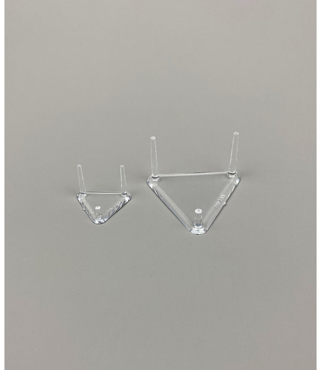 Dreieckig 3-Pin-Acrylglas Ständer /1 Kurzer Pin / Für Steine / Mineralien / Fossilien / Geoden