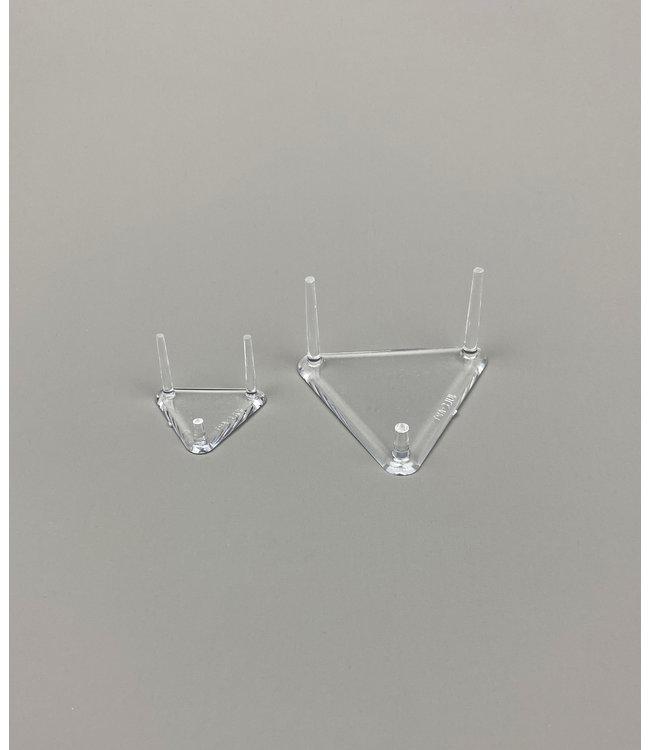 Driehoekig Acryl 3-Pins Display / 1 Korte Poot / Voor Stenen / Mineralen / Fossielen / Geodes