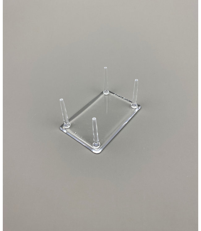 Rectangular Acrylic 4-Pin Display / Small Legs / For Stones / Minerals / Fossils / Geodes