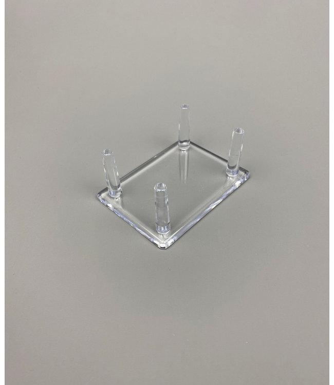 Rechteckige 4-Pin-Acrylglas Ständer / Für Steine / Mineralien / Fossilien / Geoden