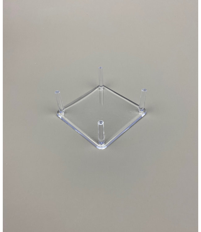 Square Acrylic 4-Pin Display / For Stones / Minerals / Fossils / Geodes