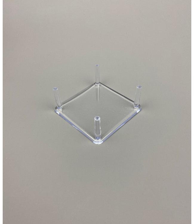 Vierkant Acryl 4-Pins Display / Voor Stenen / Mineralen / Fossielen / Geodes