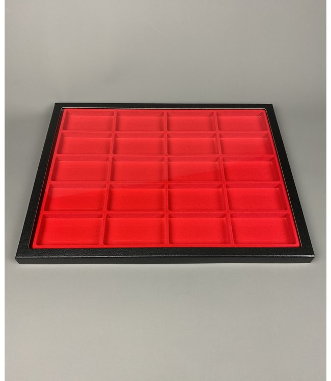 Riker Display Case / Red / 20 Compartments / 160
