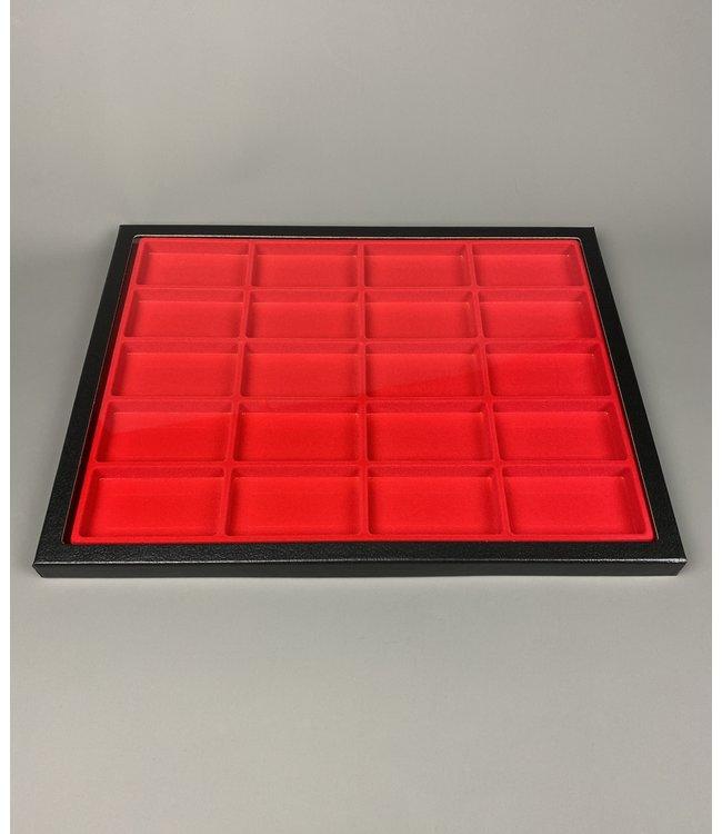 Riker Display Case / Rood / 20 Compartimenten / 160