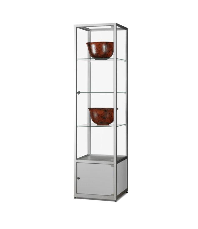 Vitrine Floris / Silber / Unterschrank