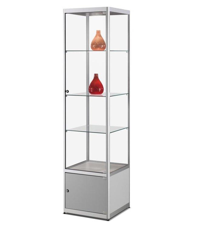 Vitrinekast Floris / Zilver / Onderkast / LED Plafondspot