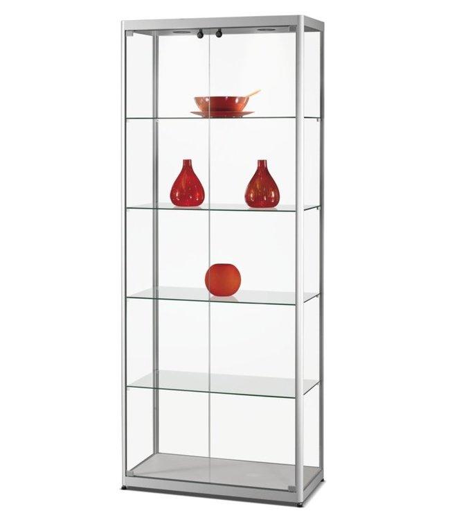 Vitrinekast Radboud / Zilver / Deuren Voorzijde / LED Plafondspots