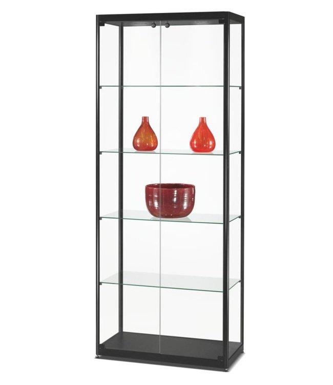 Vitrinekast Radboud / Zwart / Deuren Voorzijde / LED Plafondspots