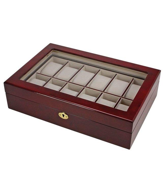 Prachtige Houten Opbergvitrine Voor 12 Horloges