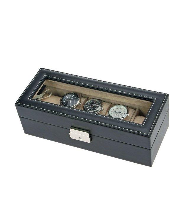 Edle Schwarze Uhren-Lederkassette
