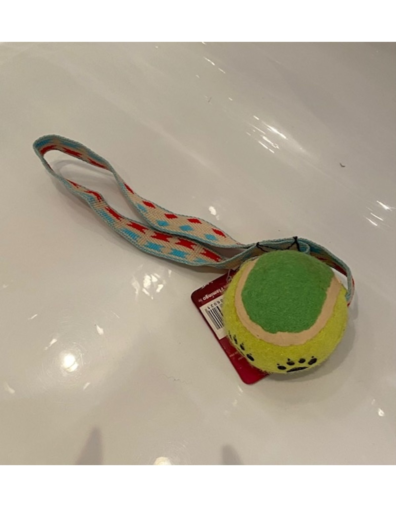 flamingo tennisbal met handvat gemakkelijk om mee te nemen