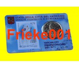 Vaticaan 50 cent 2011 + postzegel in coincard 1ste