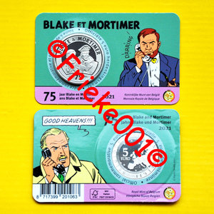 België 5 euro 2021 in blister.(Blake en Mortimer)