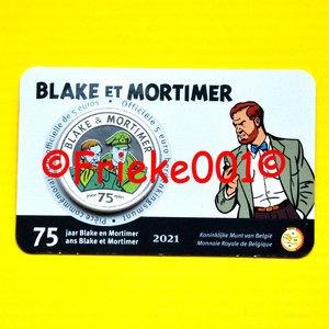 België 5 euro 2021 in blister gekleurd.(Blake en Mortimer)