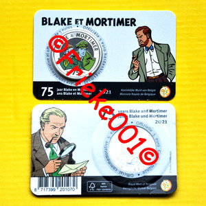 Belgium 5 euro 2021 colored in blister.(Blake and Mortimer)