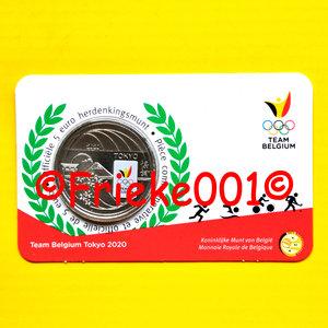 België 5 euro 2021 in blister gekleurd.(Tokyo 2020)