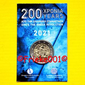 Griekenland 2 euro 2021 comm in blister.(200 jaar revolutie)