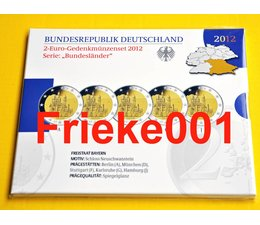 Duitsland 5x 2 euro 2012 comm proof in blister