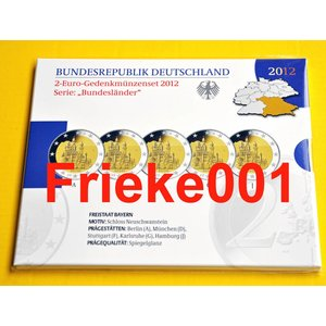 Germany 5x 2 euro 2012 comm proof in blister