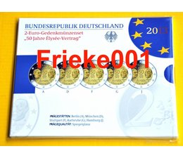 Germany 5x 2 Euro 2013 comm Elysee proof in blister