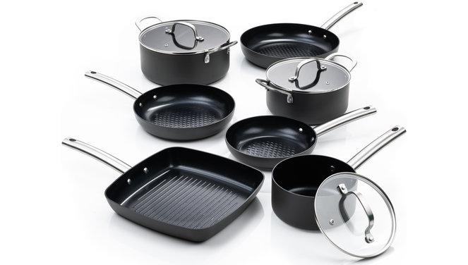 Murray Chef-du-Jour-Grill - Pfanne 20, 24 & 28 CM - Topf 20 & 24 CM - Soßentopf 16 CM - Grillpfanne 26 CM - Edelstahlgriffe