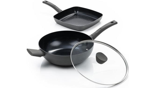 Avon Combi-Deal keramische Grillpfanne und Wok mit Deckel