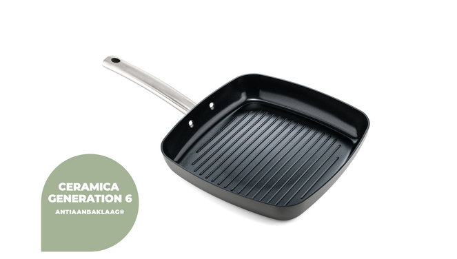 Murray keramische grillpan 26 CM - RVS greep