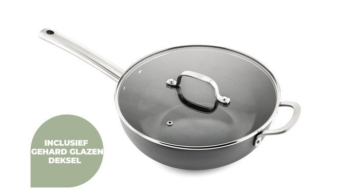 Murray Chef Total-Set - Pfanne 24 & 28 CM - Topf 20 & 24 CM - Wok mit Deckel 28CM - Bratpfanne 26CM - Grillpfanne 26 CM - Soßentopf 16 CM - Edelstahlgriffe