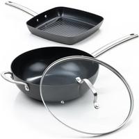 Murray Combideal keramische grillpan en wokpan met deksel - RVS grepen
