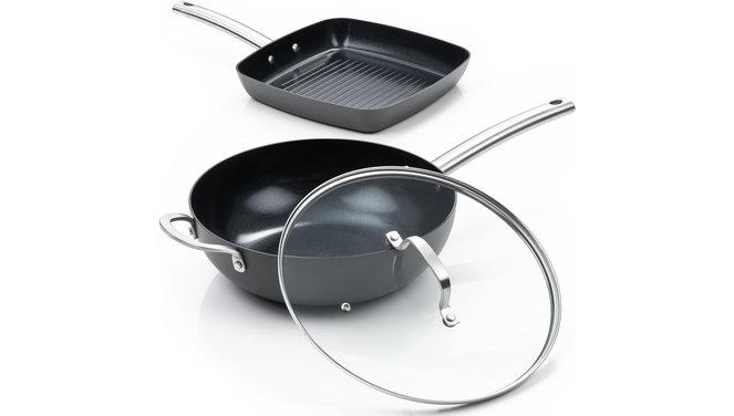 Murray Combi-Deal keramische Grillpfanne und Wok mit Deckel