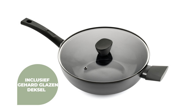 Avon keramische wok met deksel 32 CM - Ergo greep