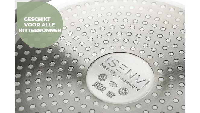 ISENVI Murray keramischer Wok mit Deckel 32 CM - Edelstahlgriff