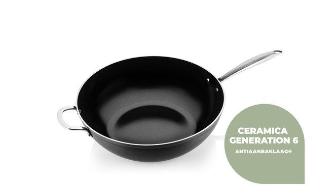 Victoria Forged keramische wokpan 32CM - RVS greep