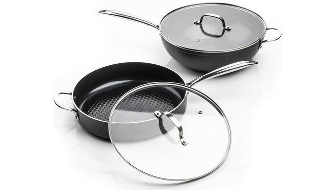 Victoria Forged Combideal keramische hapjespan en wokpan