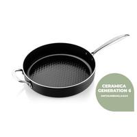 Victoria Forged combideal keramische koekenpan 24 CM en wok met deksel 32 CM met spatels - RVS grepen