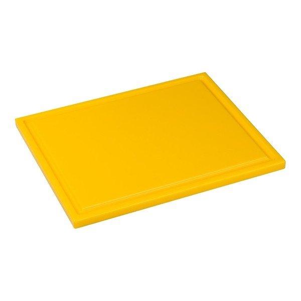 Snijplank met sapgeul, 1/2 GN geel, 325 x 265 x 15 mm