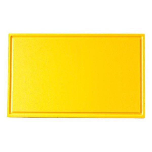 Snijplank met sapgeul geel, 530 x 325 x 15 mm