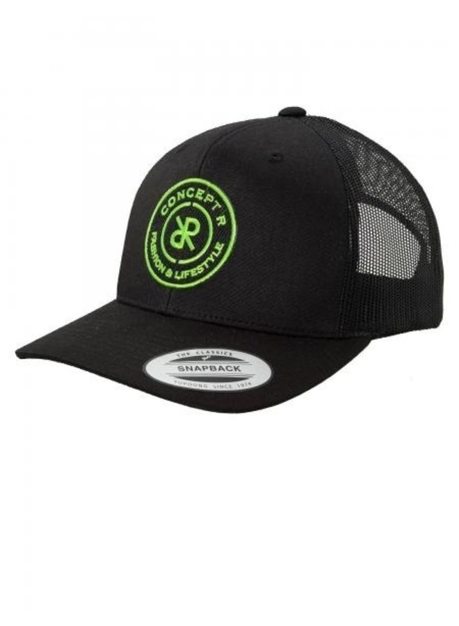 Concept R - Retro Trucker Logo Cap Black Fluor