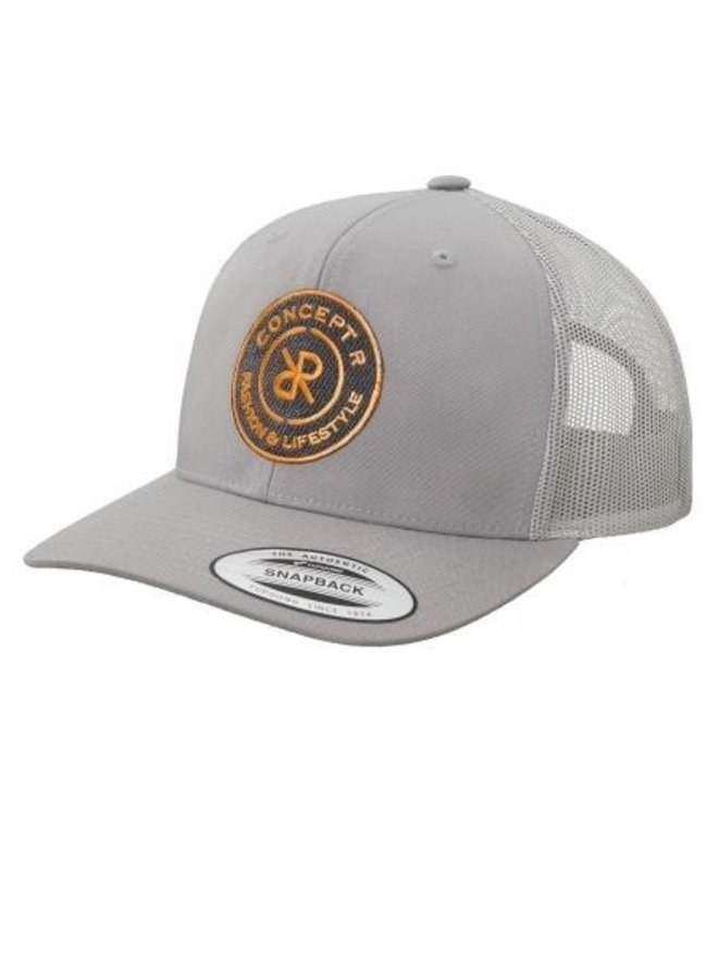 Concept R - Retro Trucker Logo Cap Grey Orange