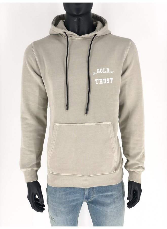 In Gold We Trust - Garment Dye Hoodie Feather Grey