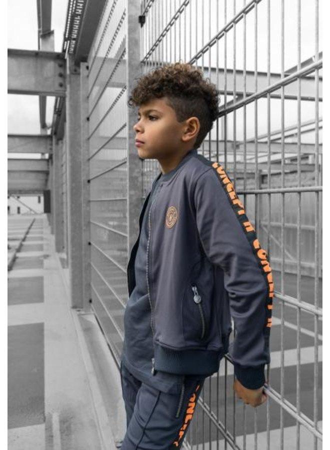Concept R - KIDS Track Jacket Taped Grey Orange